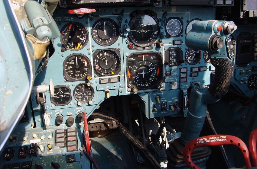 Cockpit of a Sukhoi 33 fighter