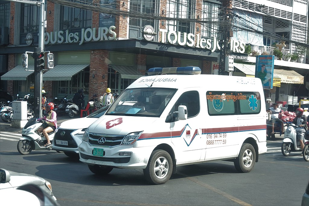 Government ambulance in Phnom Penh, Cambodia