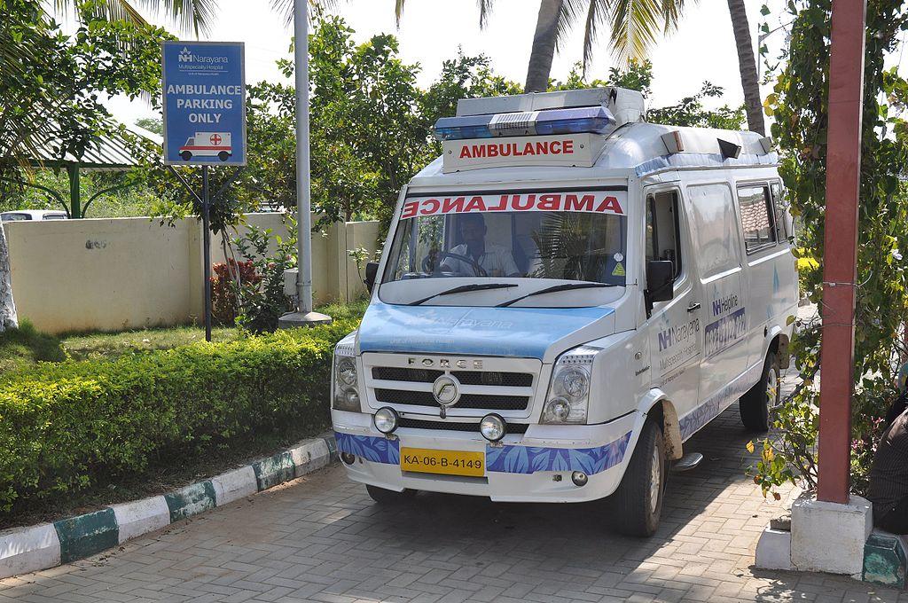 Ambulance of Narayana Multispeciality Hospital in Mysore, India