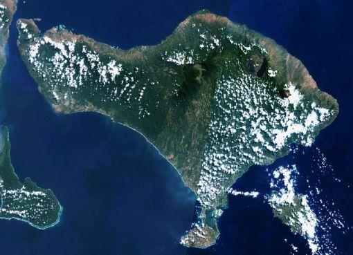 Bali viewed from Land Sat satellite