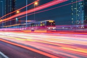 Bangkok BTS Electric Train Speed Light Color