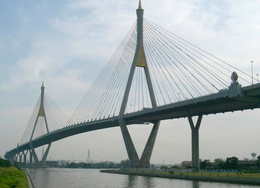 Bhumibol Bridge over the Chao Phraya River connecting southern Bangkok with Samut Praka