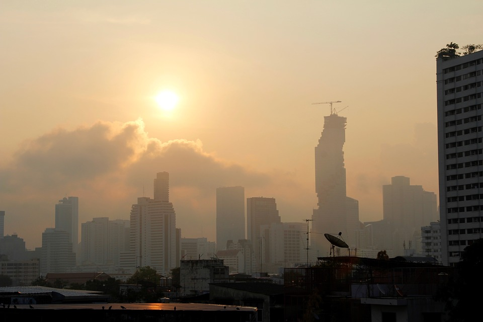 Bangkok skyline and the MahaNakhon Tower, tallest building in Thailand