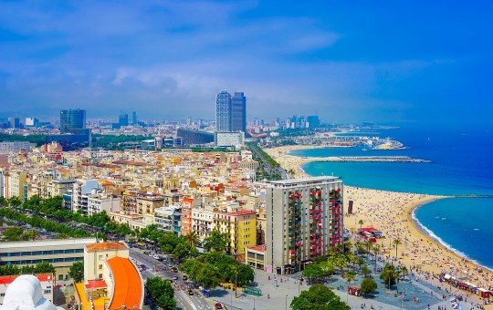 Aerial view of Port Olimpic beach in Barcelona