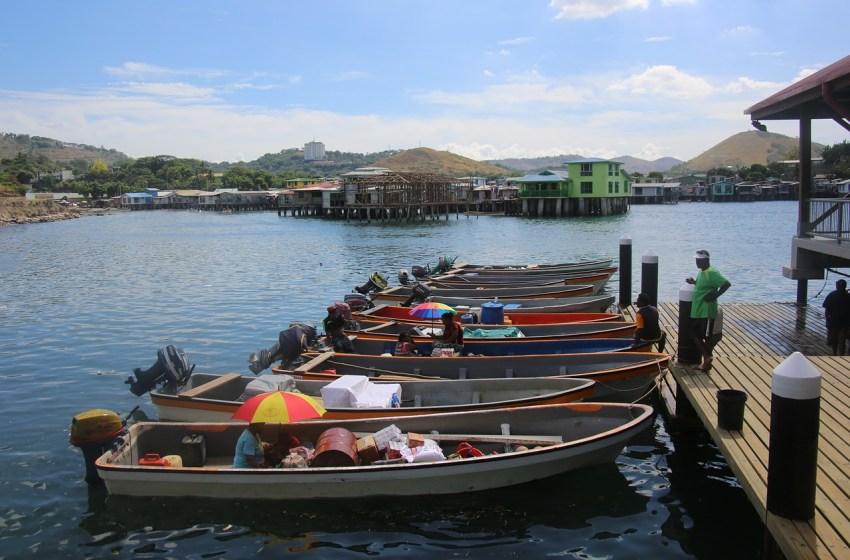Boats at Sea Fish Market in Papua New Guinea, Indonesia