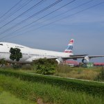 Orient Thai Boeing 747-200 on display at the intersection of highway 3036 & 346 near Lam Luk Bua, Nakhon Pathom