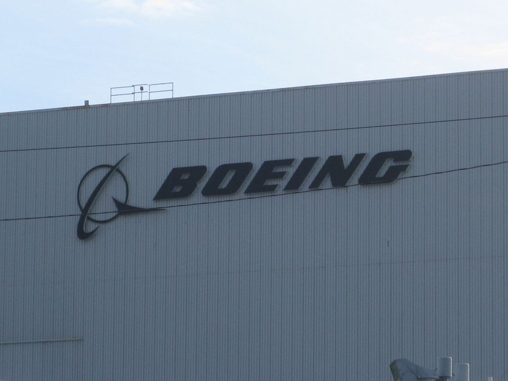 Boeing logo on the company building