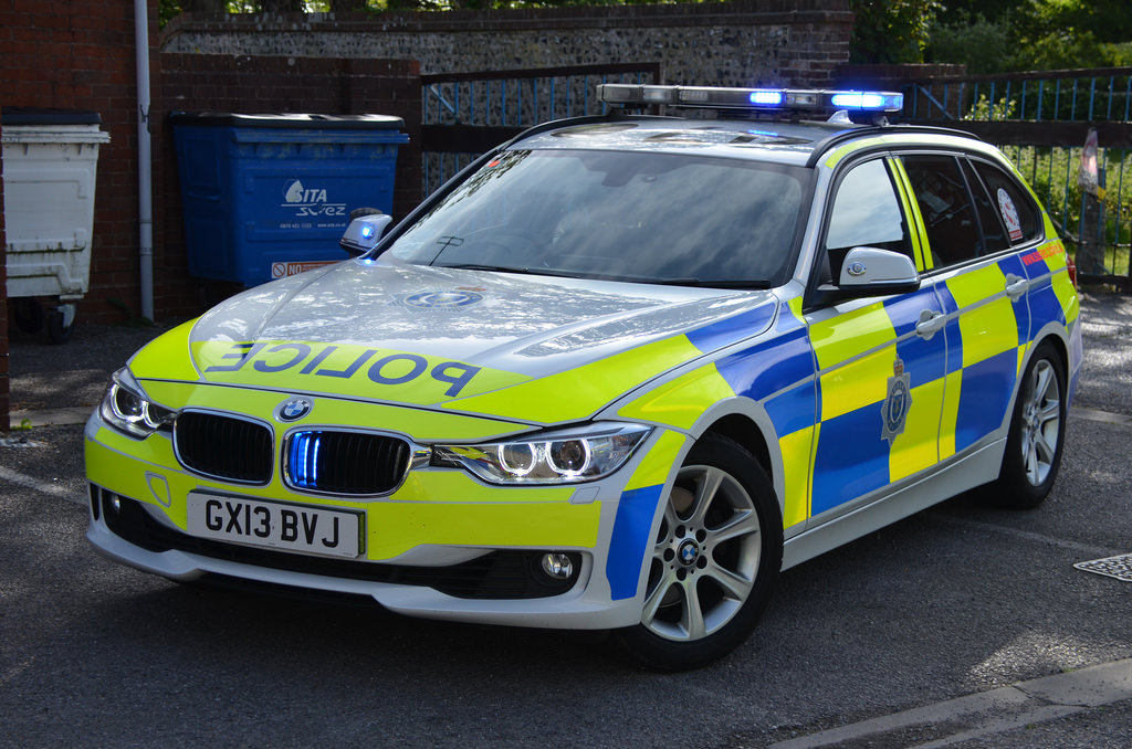 British Police BMW 330d car in Sussex