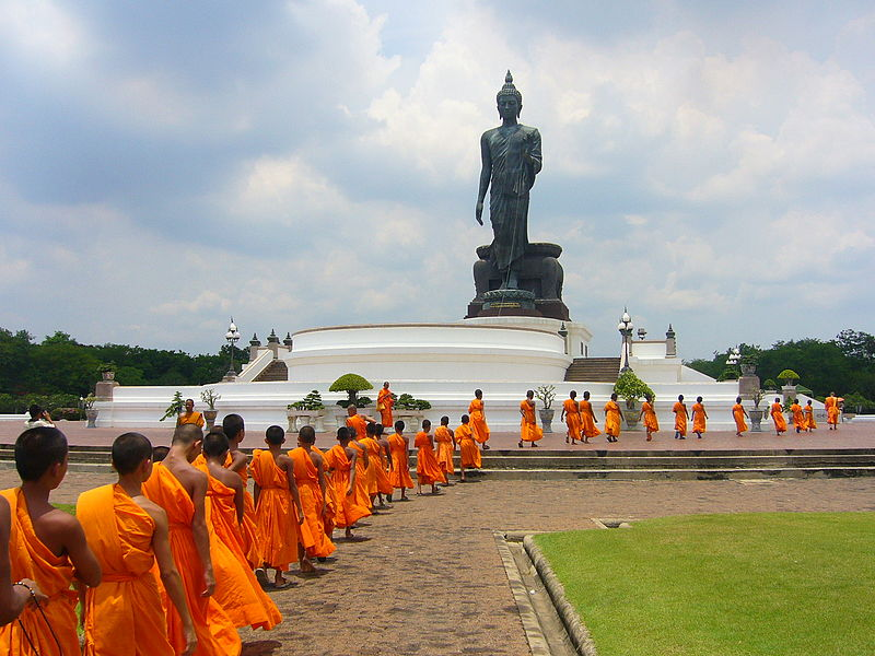 Thai Buddhist Monks at Phutthamonthon Buddha site
