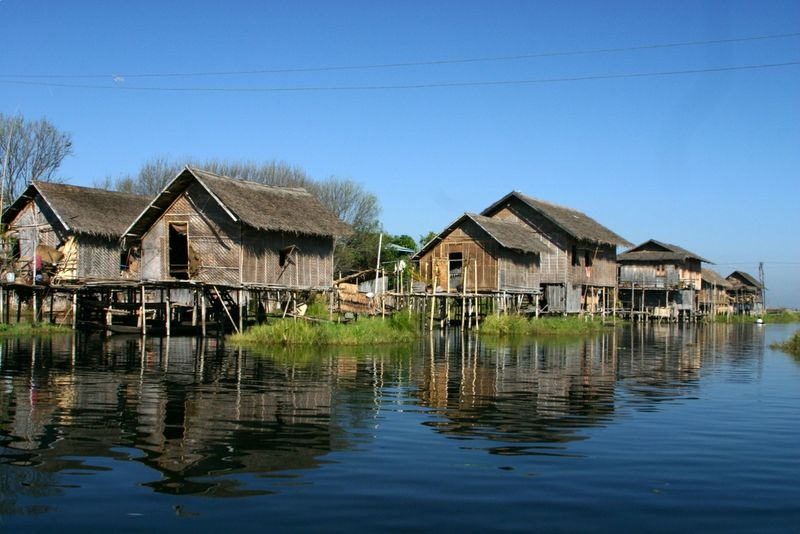 Stilt houses at Lake Inle in Burma