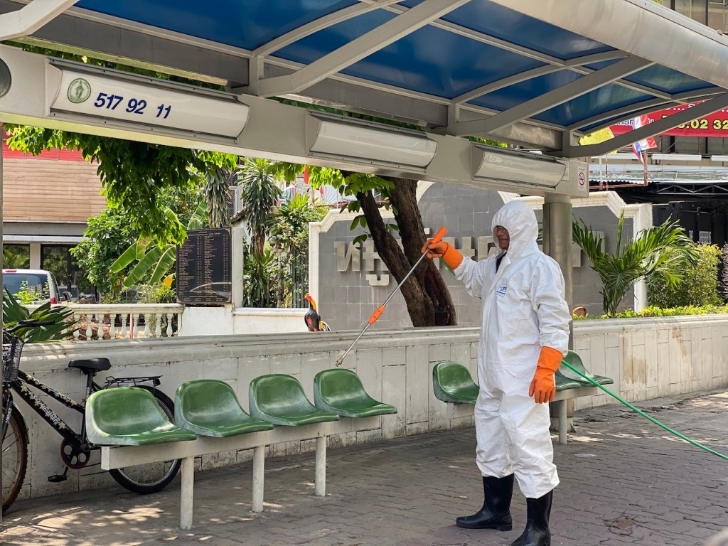 Bus stops in Bangkok have been deep cleaned to prevent spread of COVID-19