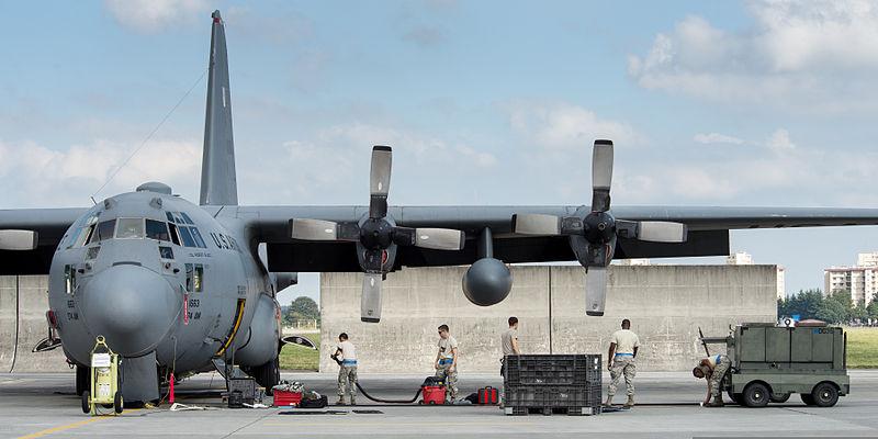 C-130 Hercules aircraft at Yokota base