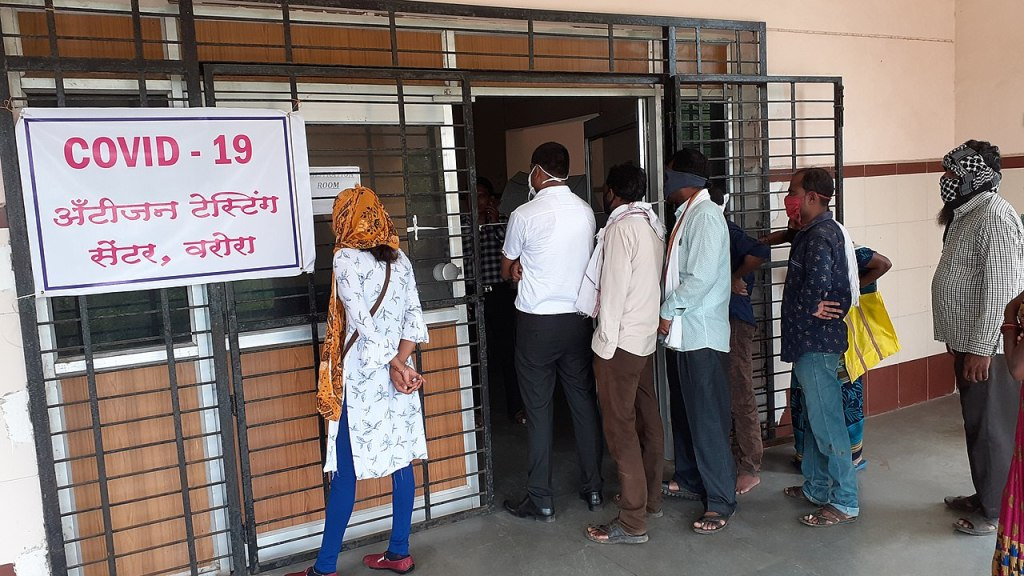 COVID-19 antigen testing centre Warora, Maharashtra, India