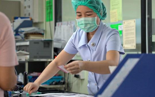 A nurse during COVID-19 coronavirus pandemic in April 2020