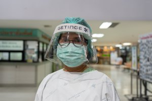 A nurse wearing face shield and mask during COVID-19 coronavirus pandemic in April 2020.