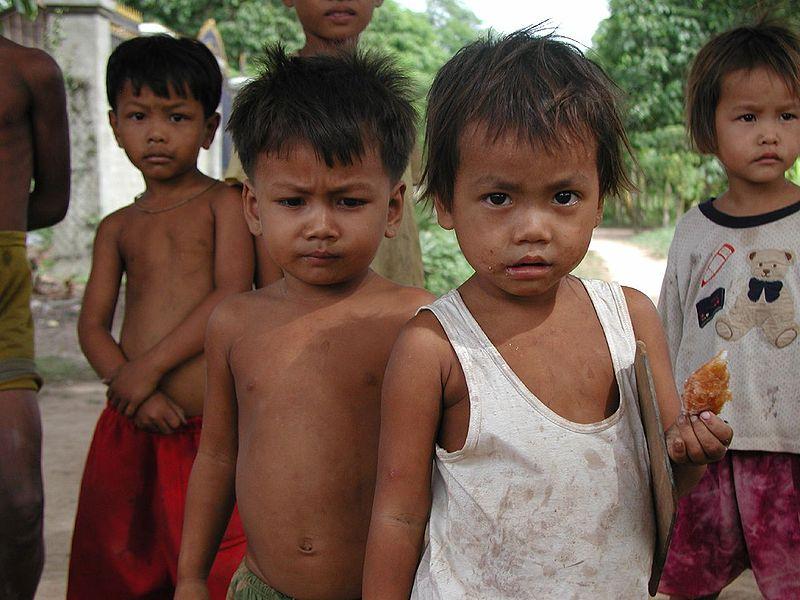 Cambodian children outside the Khmer Literacy School