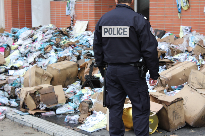 Policeman at Charly Hebdo offices in Paris
