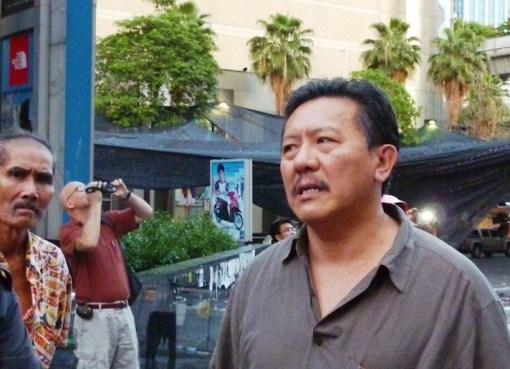 Chuwit Kamolvisit outside CentralWorld in Bangkok