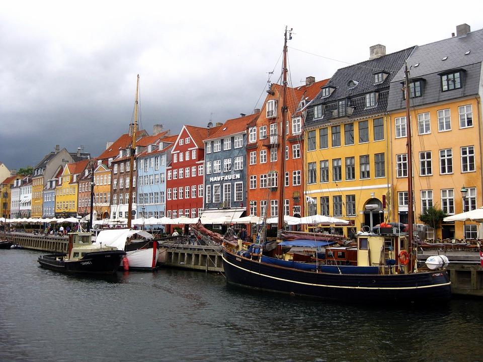 Picturesque houses in Nyhavn District of Copenhagen, Denmark