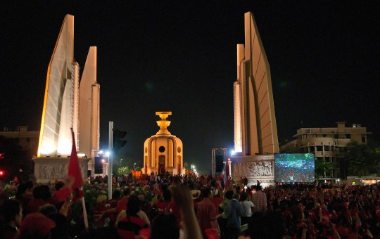 The Redshirts demonstrate at Democracy Monument in Bangkok on February 13, 2011