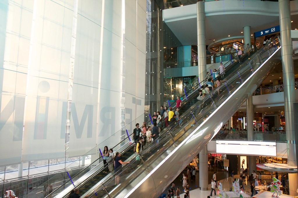 Impressive escalator at Terminal 21 in Korat