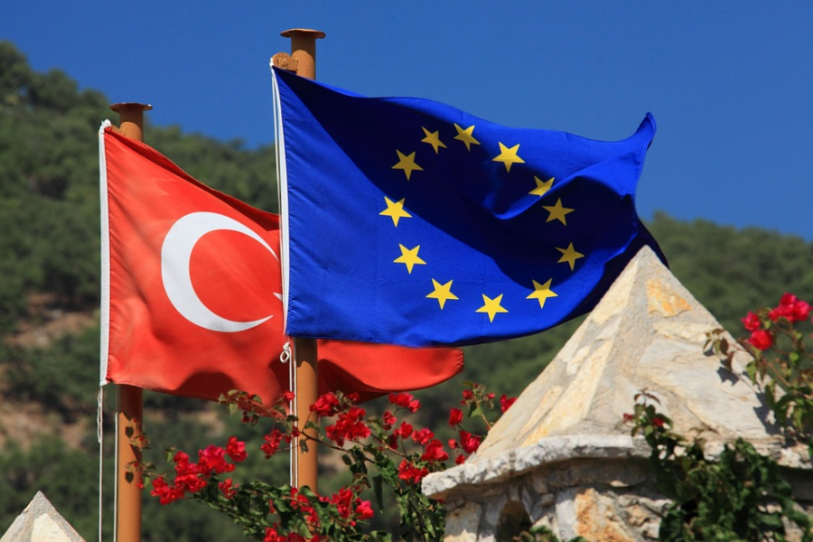 European and Turkish flags.