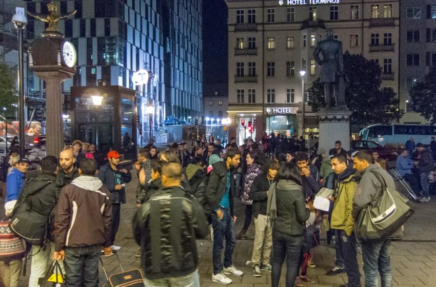 Refugees from Syria at Stockholm Central Station in Sweden
