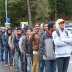 Migrants at Wegscheid border crossing in Bavaria, Germany