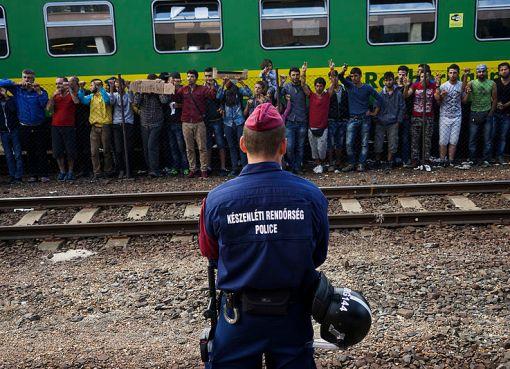 'Syrian' refugees strike at the platform of Budapest Keleti railway station
