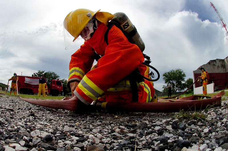 A firefighter at the Port of Laem Chabang in Pattaya, Thailand