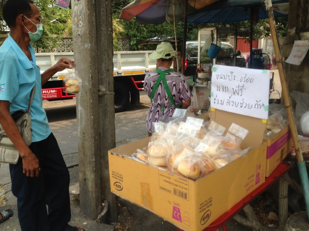 Food giveaway during the COVID-19 coronavirus outbreak in Thailand