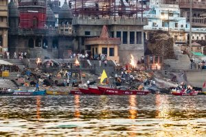 Ganges River bank in Varanasi, India