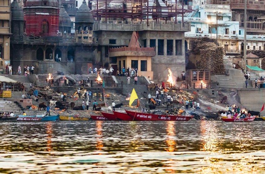 Ganges River bank in Varanasi, India