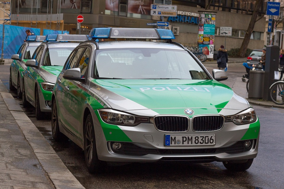 BMW polizei cars in Germany.