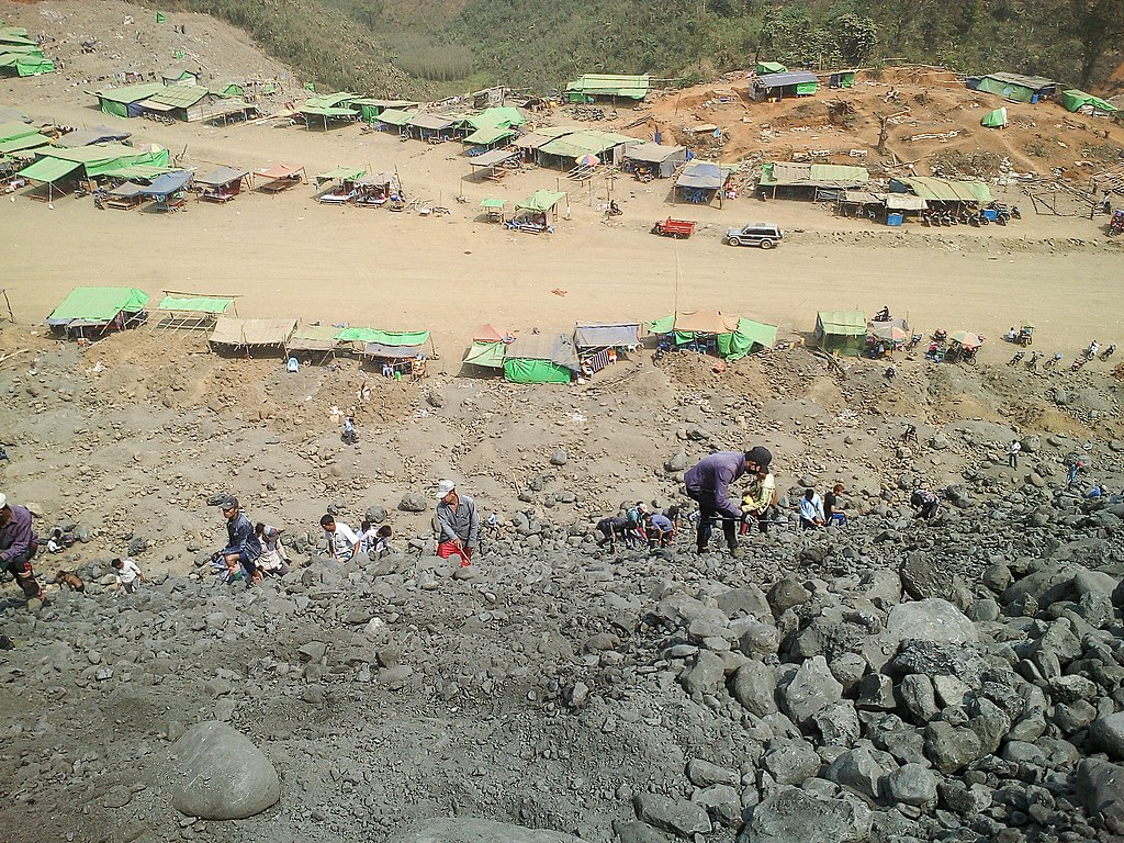 Young people hardworking at Jade mine in Kachin State, Myanmar