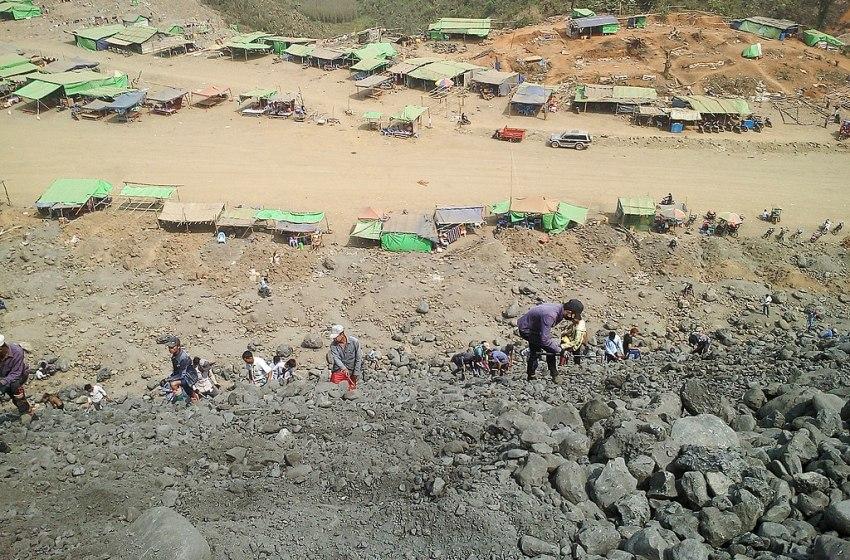 Young people hardworking at Jade mine in Kachin State, Myanmar