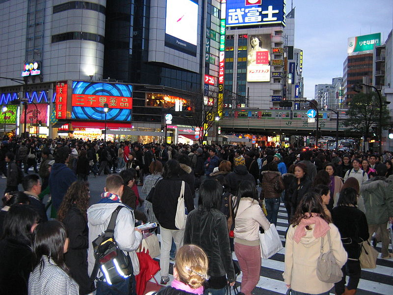 Crowd in downtown Tokyo
