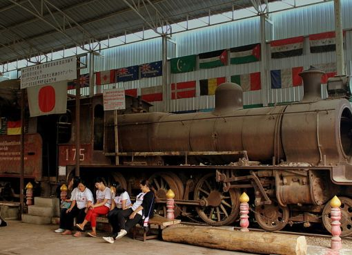 Japanese steam locomotive in Kanchanaburi