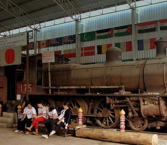 Japanese steam locomotive in Kanchanaburi
