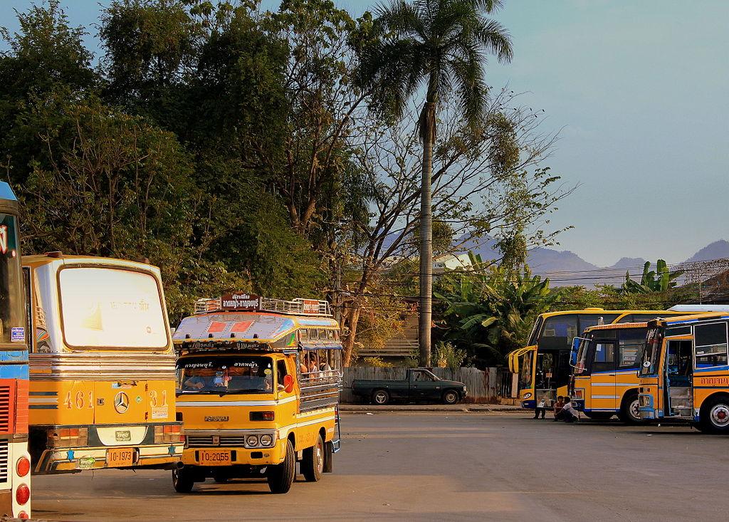 Yellow buses at the Kanchanaburi bus station
