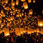 Khom Loys (Hot Air Lanterns) during the Loy Krathong Festival