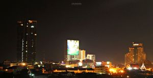 Khon Kaen skyline at night with views of The Houze Condo and nd 5 star hotel Pullman Hotel