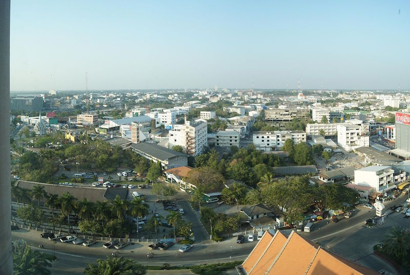 Aerial view of Khon Kaen in Northeastern Thailand
