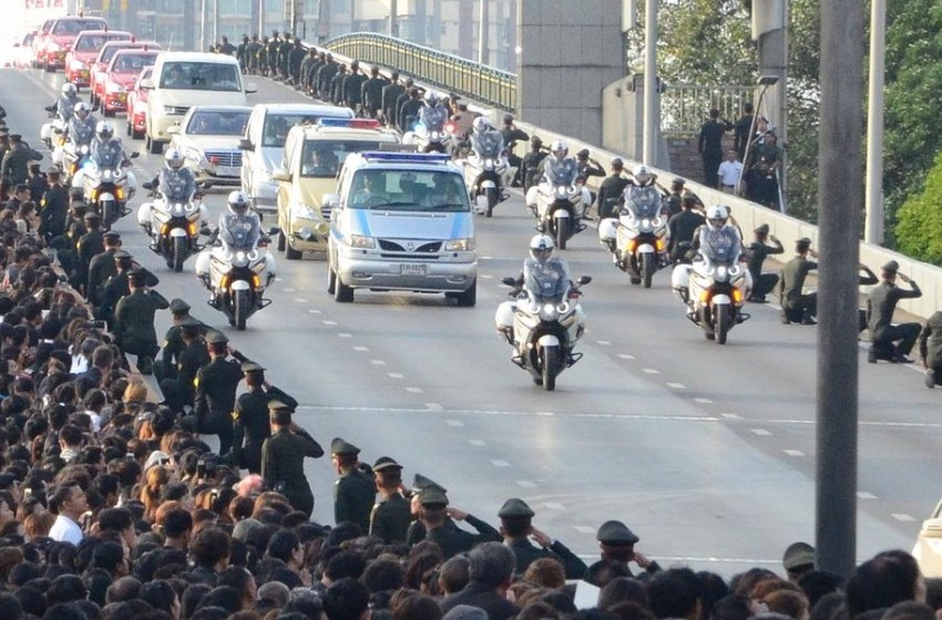 A royal convoy carrying the body of King Bhumibol Adulyadej to the Grand Palace