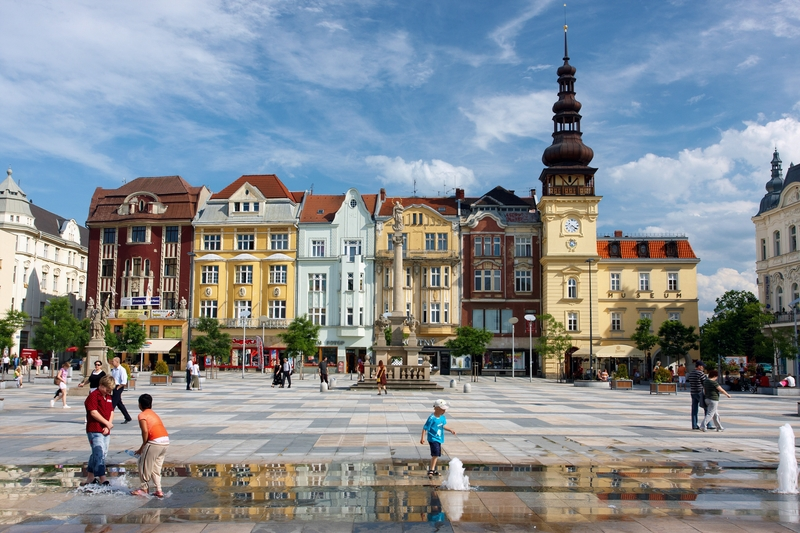 Masaryk Square buildings in Ostrava, Czech Republic