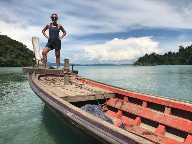 Posing on a long-tail boat in Mergui archipelago