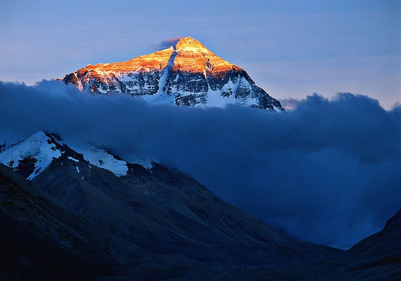 The Mount Everest rises to 8848 m. (29,028 ft.)