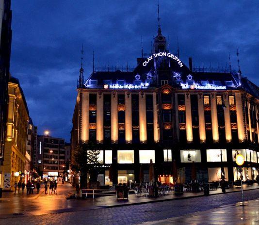 Karl Johan Gate at Night in Oslo