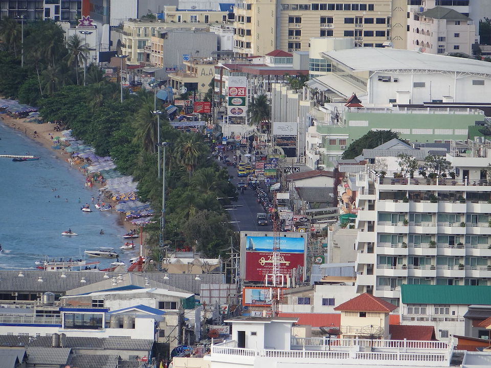 Pattaya Beach road with city skyline