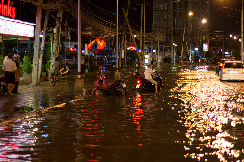 Flooded street of Pattaya. Heavy rain takes its toll on Pattaya's insufficient draining system